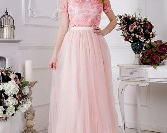 Pink Floor Length Tulle Skirt