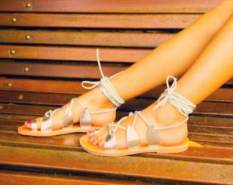 Greek sandals / silver Sandals / silver Greek Sandals / Sandals gladiator / gladiator sandals silver colour / colour sandals silver