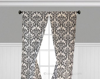 Black And White Curtains Drapery Floral Damask Curtain Panels Window  Treatments Home Decor Bedroom Living Room