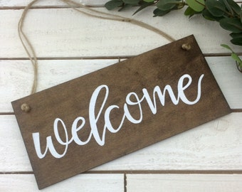 Welcome Sign-Wood Welcome Sign-Rustic Welcome Sign-12'' x 5.5'' Sign