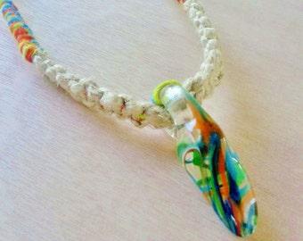 25% Off Sale!, Natural Hemp Necklace, Hand Blown Glass Pendant, Macrame, Unique Glass Pendant, Heady Glass Pendant, Lampwork, Heady Necklace