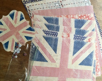 British Themed Scrapbook Paper and Embellishment Pack Union Jack England