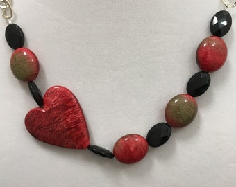 Heart Necklace, Red and Black Necklace, Silver Chain Heart Necklace