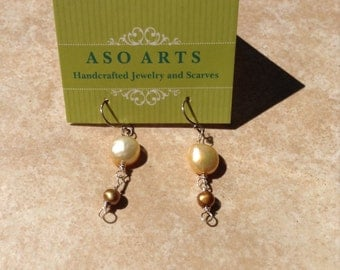 Cream and Copper earrings