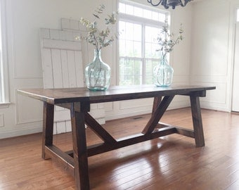 Rustic Farmhouse Table -- Solid Wood, Handmade
