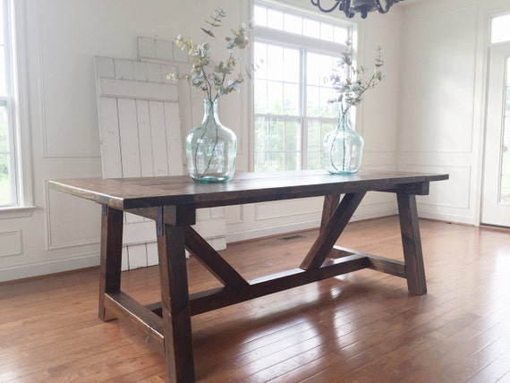 Rustic Farmhouse Table Solid Wood Handmade
