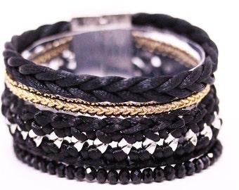 Black Brazilian Bracelet - Multi Layer Bracelet - Wrap Bracelet - Woman Bracelet - Black Bracelet - Summer bracelet - Colorful Bracelet