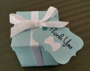 Robin Egg Blue Favor Boxes w/Thank You Favor Tag Bridal Shower Bridal & Co Breakfast at Tiffany's Inspired Favor Boxes with favor tag