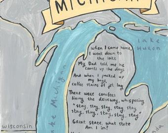 Michigan Map - Art Print - The Accidentals Lyrics