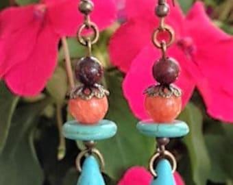 Boho Turquoise Tear Drops Earrings