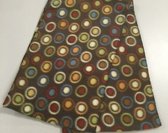 Brown Polka Dot Fleece Scarf