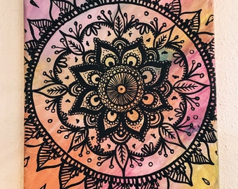 Rainbow Mandala Canvas Painting