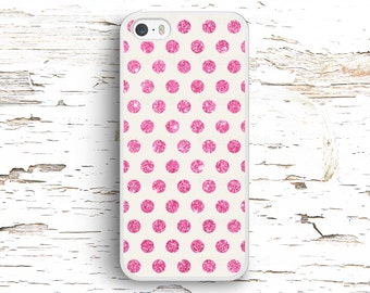 Pink Glitter Dots Case, iPhone 7 6S 6 SE 5S 5 5C 4S, Samsung Galaxy S6 Edge S5 S4 S3, LG G4 G3, Sony Xperia Z5 Z3, HTC One M8
