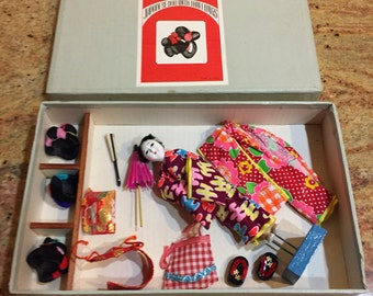 Vintage Japanese Doll Three Wigs Set Hanako with Accessories Original Box