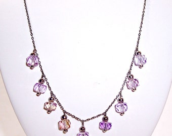Genuine Amethyst Sterling Silver Fashion Necklace