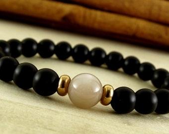 black bracelet for men gift ideas for him birthday gift mens bracelet moonstone jewelry for him mens jewelry gemstone bracelet meditation