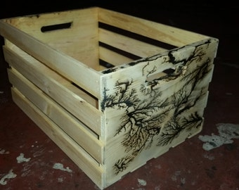 Lightning etched wooden crate/box