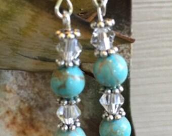 Turquoise Blue Magnesite Earrings