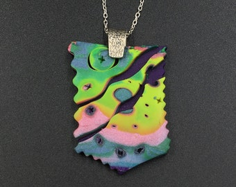 Polymer Clay Pendant with Sterling Silver Bail and Chain