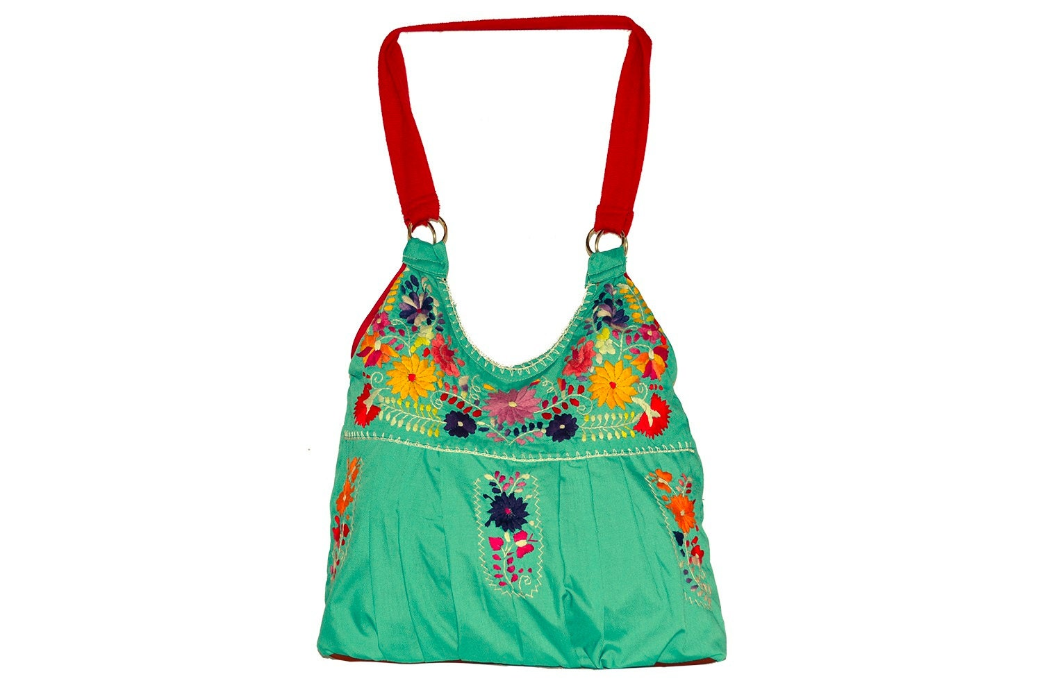 Mexican embroidered bag by rojoturquesamexico on etsy