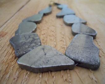 Gold pyrite necklace / handmade