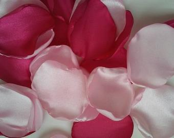 Pink wedding decor, pink rose petals, satin rose petals, aisle runner decor, wedding decoration, rose petals, magenta wedding, petals.
