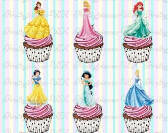 24 x Disney Princess Fulls's Stand-Up Pre-Cut Wafer Paper Cupcake Toppers