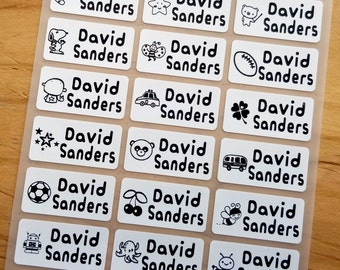 24 Medium Size White Fabric Labels with Boy Images Clothing Label - Sew on Sewing label - Iron On Labels - Cloth Label