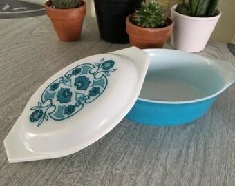 Vintage Pyrex Blue Horizon 1.5 Qt Oval Casserole Dish w/Lid #043