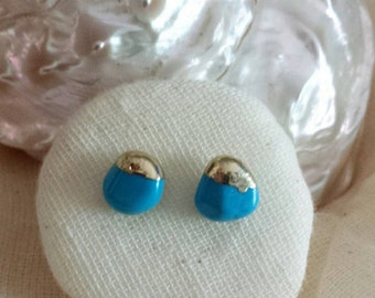 Beautiful Turquoise  Pebble Stud Earrings