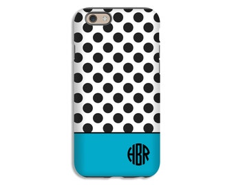 Monogram iPhone case, polka dot iPhone SE case, personalized cases, iphone 6s/6s Plus/6/6 Plus/5c/5s/5/4s/4 cases, 3D wrap around cases