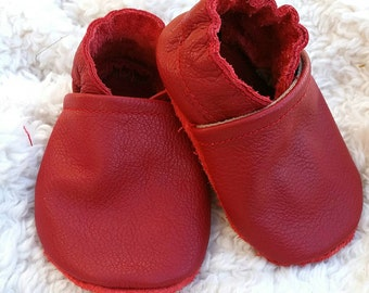 Red baby shoes, red baby moccasins, red baby booties, christmas baby shoes, red infant shoes, red toddler shoes, baby mocs, infant mocs,