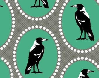 Raven Fabric | Crows | Black Bird Fabric | Australian Print | Magpie Pattern | Teal and Gray | Modern Bird Fabric | Unique