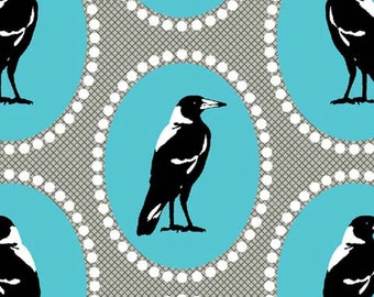 Crow Fabric | Raven Print | Magpies | Aqua Fabric | Australian | Blackbird | Crow Art