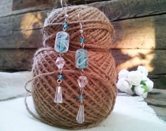 Cluster earrings Tender long earrings blue earrings  Gift for her