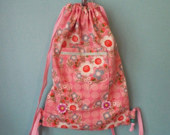 Backpack in cotton pattern flowers