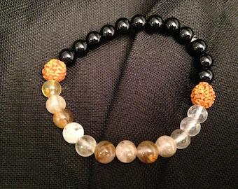 Rudraksha and Natural Gemstone Bracelet. FREE SHIPPING AUSTRALIA.