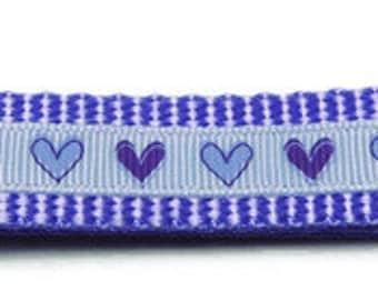 Medium Purple Hearts Dog Collar