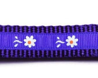 Medium Purple/White Flowers Dog Collar
