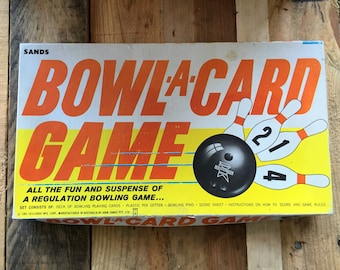Vintage 1963 Bowl-A-Card Game / Bowling Card Game/ Vintage Board Game / 10 Pin Bowling Game / Classic Game