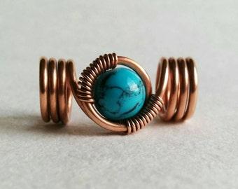 Loc jewelry, copper wire dreadlock bead with turquoise, dread bead, braid bead, hair bead, boho hair jewelry, dreadlock accessories