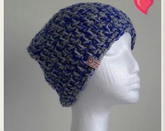 Crochet Hat - Blue & Grey Beanie