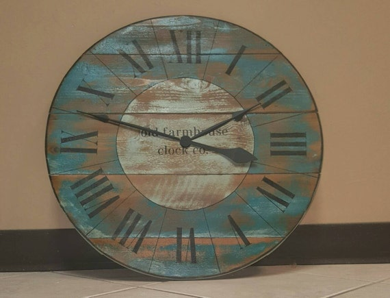 36 farmhouse clock with blue and turquoise distressed