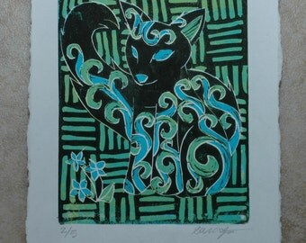 Fox Reduction Print, Relief Printmaking, Linocut Print