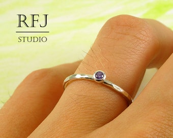 Hammered Lab Amethyst Stacking Silver Ring, Purple CZ 2 mm Medium Texture Sterling Ring Simulate Amethyst Textured Ring Purple CZ 925 Silver