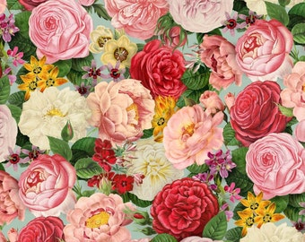 """Elizabeth's studio:  Spring in Paris collection - Spring time Packed Flowers AZURE 4901 - 100% cotton fabric by the yard 36""""x44"""" (C17)"""