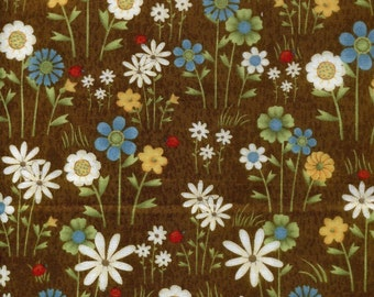 "Floral Fabric: Hip Hop Garden Floral Brown by Debbie Mumm  100% cotton fabric by the yard  36""x44"" (C168)"