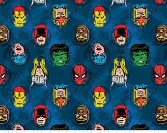 """Marvel Fabric/ Comics Fabric: Immortal Characters in Blue by Camelot Fabric  100% cotton fabric by the yard 36""""x44"""" (N158)"""