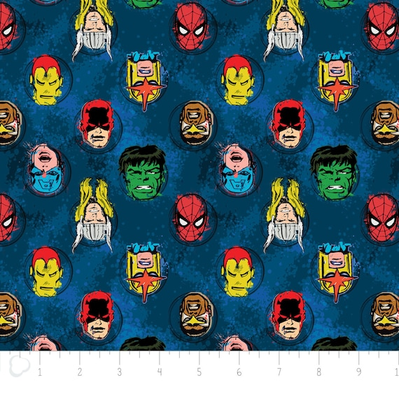 Marvel Fabric/ Comics Fabric: Immortal Characters In Blue By