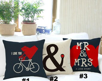 """SALE - Mr and Mrs Pillow Case - Home Decorative Cushion Cover - I Love you Gift  - Anniversary - Just married 18"""" x 18"""" - 45cm x 45cm Weddin"""